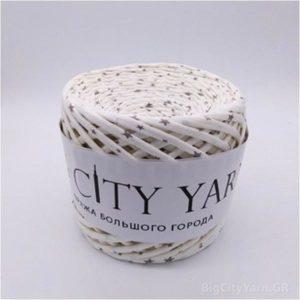 Βαμβακερό νήμα για πλέξιμο, Big City Yarn, Εκρού με αστεράκια